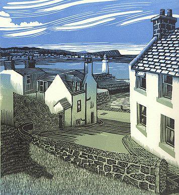 ✦ 'macduff to whitehills' - bryan angus - linoprint