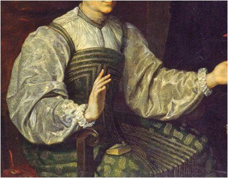 Cuerpo bajo y vasquiña. Ambas prendas con ribetes.Hacia 1610. Un caballero de Santiago y su esposa, atribuido a Luis Tristán, Franckfort, Kentucky University (detalle) (imagen obtenida aquí)