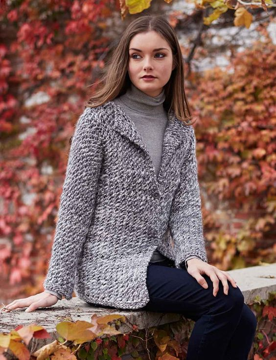 Yarnspirations.com - Patons Tweedy Cardigan - Patterns ...