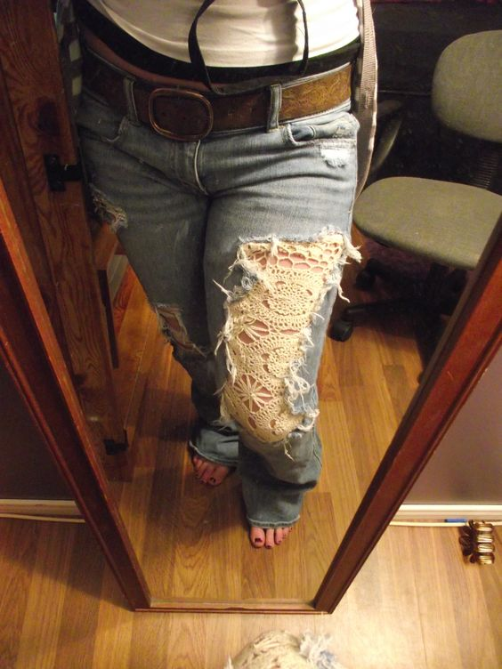 cute idea, ripped doily jeans