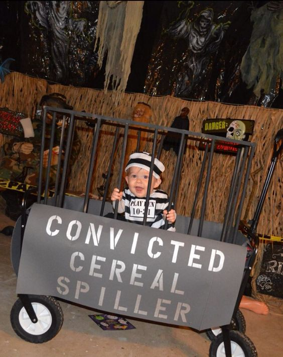 Baby Halloween costume - Convicted Cereal Spiller :-P