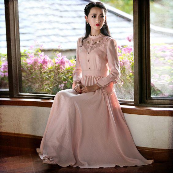 Barato 2015 nova primavera Yuzi das mulheres do Vintage vestido bordados de flores sopro manga vestidos de cintura alta LS402 mulheres Maxi Dress vestido feminino, Compro Qualidade Vestidos diretamente de fornecedores da China: