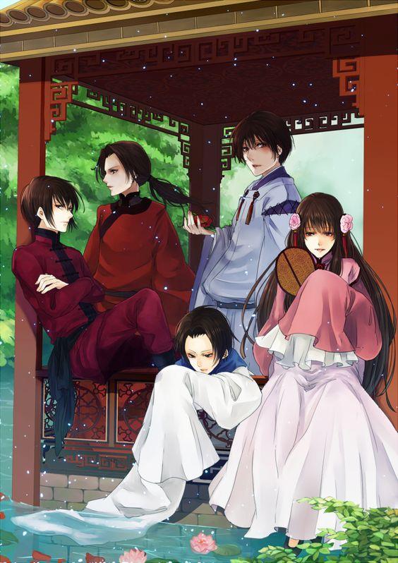The main Asian characters: Yao with Ka Lung (head-canon name for Hong Kong), Kiku, Mei En (head-canon name for Taiwan), and Yong-Soo. - Art by Kanameyura