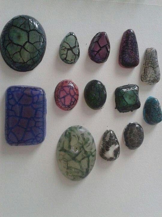 Mixed media resin faux stones. Lisa Sabina