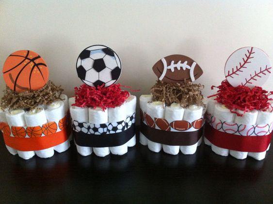 Set of 4 Mini Sports Diaper Cakes, Boy Sports Baby Shower, Football Basketball Baseball Soccer Diaper Cake, Sports Shower Decor