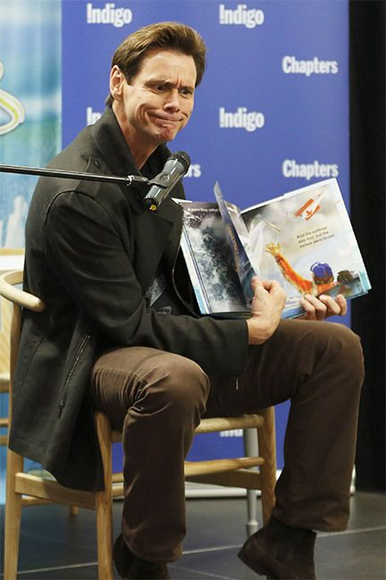 Funny man Jim Carrey took time from filming Dumb and Dumber To for an appearance in Toronto to sign copies of his first children's book How Roland Rolls on October 6th. Hey, Jim, how does Rolland roll?