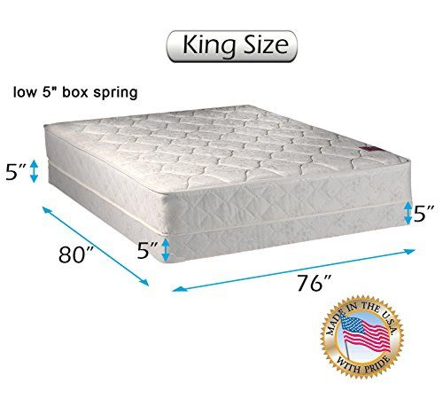 Legacy None Flip One Sided King Mattress And Low Profile Box Spring Set With Mattress Cover Protector Included Fully Assembled With Images Box Spring Spring Set Mattress