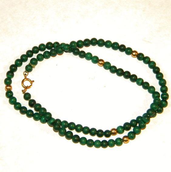 Vintage 14k Malachite Bead Necklace