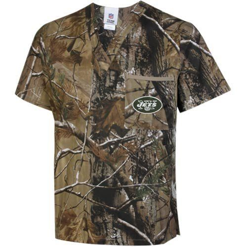 NFL New York Jets Realtree Scrub Top - Realtree Camo (Small) by Football Fanatics. $21.49. New York Jets Realtree Scrub Top - Realtree CamoOfficially licensed NFL product100% CottonEasily releases stainsRealtree camo printQuality embroideryPocket at left chestV-neck collarSide slits at hemImported100% CottonRealtree camo printQuality embroideryV-neck collarPocket at left chestSide slits at hemEasily releases stainsImportedOfficially licensed NFL product