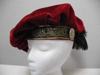 New Red Renaissance Medieval Tudor Floppy Muffin Hat Cap Costume Size Large | eBay