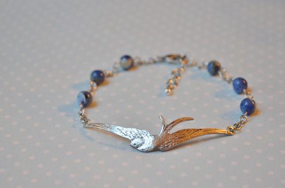 "Antique silver soaring bird bracelet w/ denim blue sodalite beads | ""Like"" us on Facebook under Two Birds Creations"