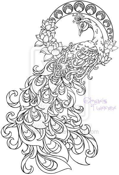 Arte Nouveau del pavo real del tatuaje por Metacharis