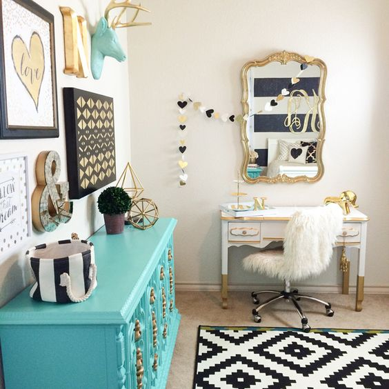 Gold Nursery Design - we LOVE the turquoise accents! We love the painted furniture, that aqua dresser, gold dipped vanity, and gold mirror! #design #gold #cadenlane