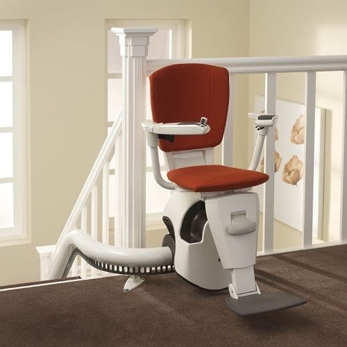 Thyssen Flow II Curved Stairlift for narrow stairs supplied and installed by Do