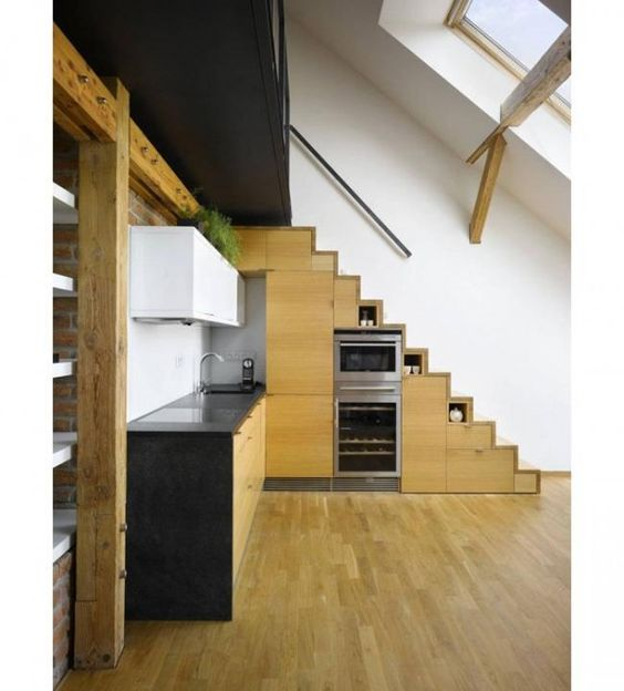 Loft stairs for small spaces making your stairs a part of the kitchen in small spaces - Stairs small spaces gallery ...