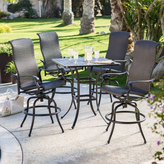 "THIS SHOULD FIT SMALLER DECK.  36"" TABLE Belham Living Palazetto All-Weather Wicker Bar Height Patio Dining Set - Unwind after a long day with a few of your best friends around the Palazetto Milan All-Weather Wicker Bar Height Patio Dining Set. Consisting of five ..."