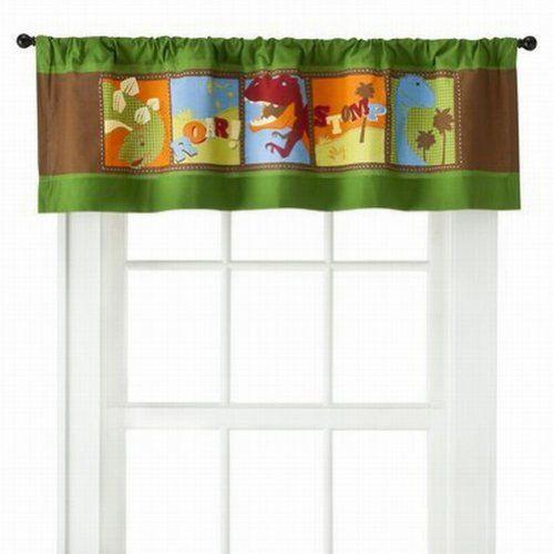 Curtains Ideas boys dinosaur curtains : Circo Roar N Stomp Dinosaur Window Valance Dino Curtain Topper ...