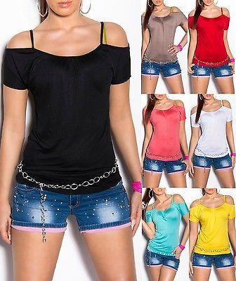 ## SEXY Koucla Shirt Top T-Shirt gerafft und schulterfrei ##