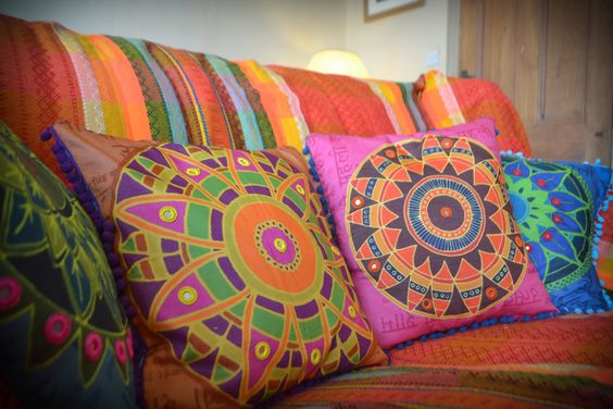 Handmade Bright and Colourful Indian Summer Cushions