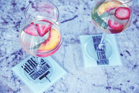 summer peach & basil sangria