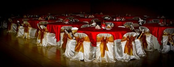 red and gold decorations | Rincon Real Reception Hall Red Gold Decorations