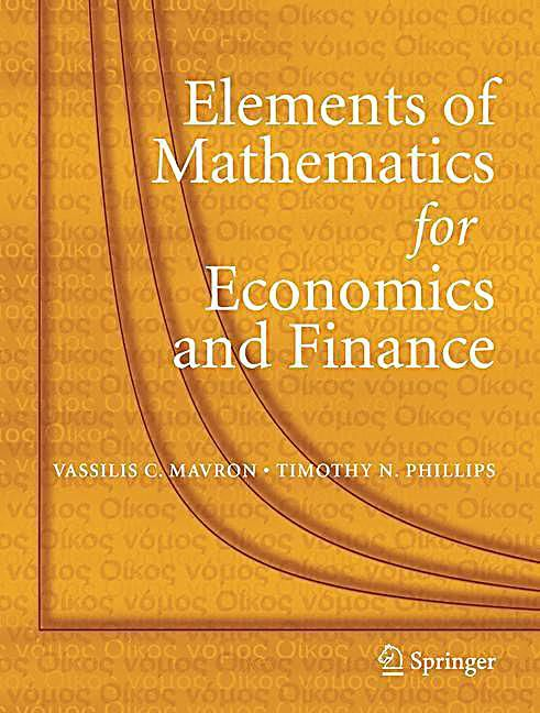 Elements Of Mathematics For Economics And Finance Vassilis C
