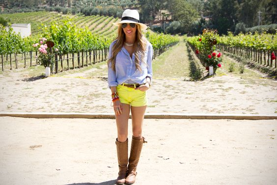 adorable outfit! yellow shorts, chambray shirt, and caramel boots