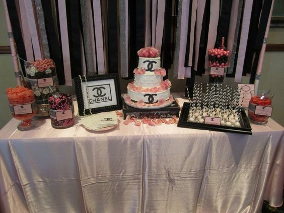 Chanel themed bridal shower candy buffet