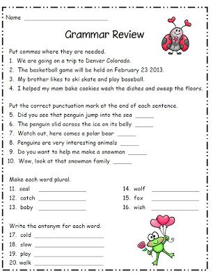 Printables 2nd Grade Grammar Worksheets english language and valentines on pinterest grammar for second grade ela commas punctuation plurals antonyms free worksheet grade