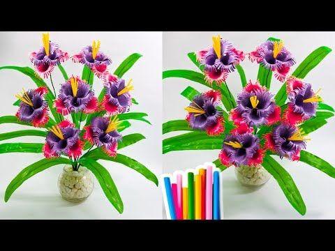 Cara Mudah Membuat Bunga Dari Sedotan Plastik How To Make Beautiful Flower With Straw Youtube Bunga Kertas Bunga Buatan Sendiri Bunga Buatan