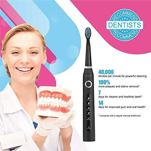 Fairywill Electric Toothbrush With Travel Case Includes 5 Modes 2 Minute Smart Timer And 3 Replacement Heads Fw 507black Brushing Teeth Dentist Recommended Dentist
