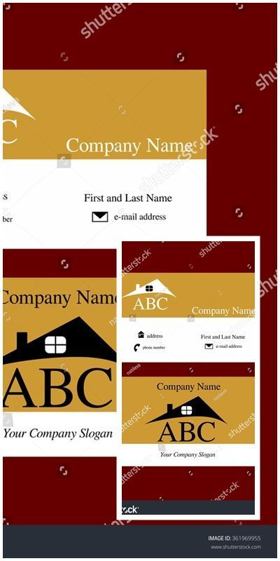 Vector Business Card With Abstract House Roof Logo Vectorillustration With Images Cards Company Slogans Abstract