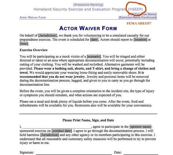 This Is A Fema Disaster Acter Release Form For Their Terror