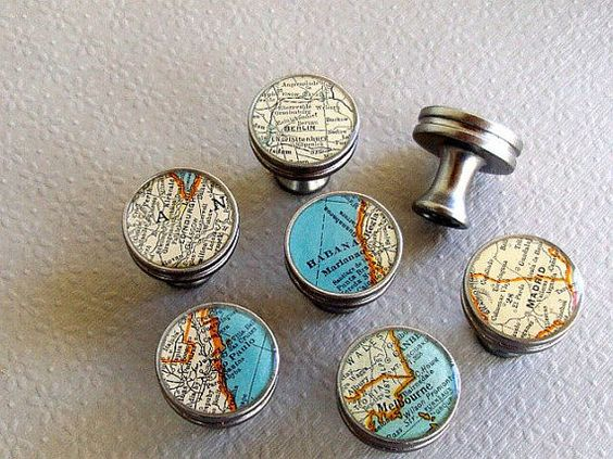 Map drawer pulls handles knobs would be great to do this using nautical charts beach coastal - Nautical kitchen cabinet hardware ...