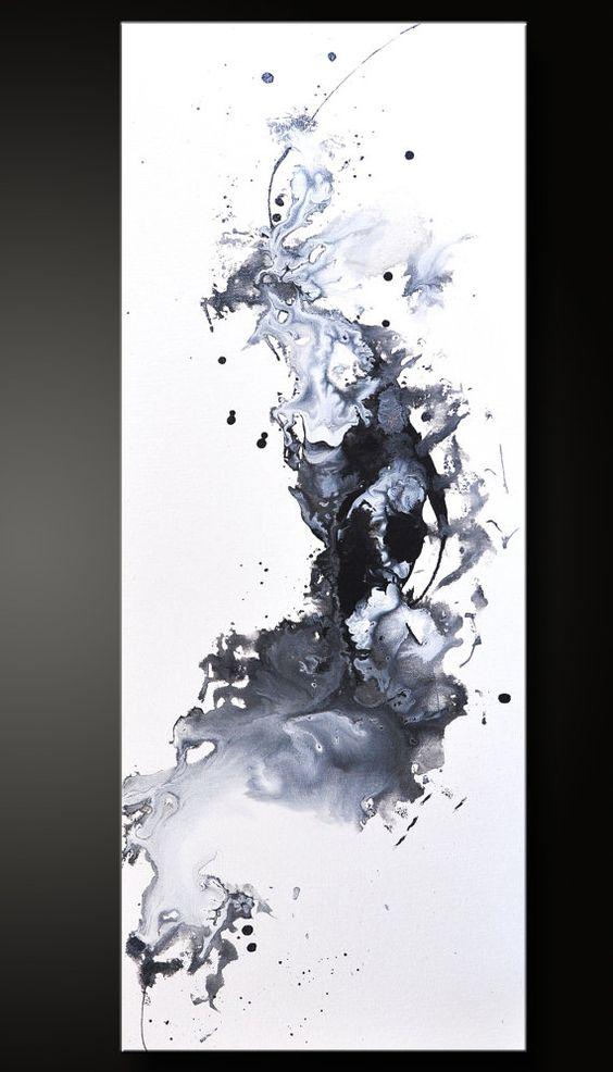 Gegen - 12 x 30 - abstrakte Acryl-Malerei - schwarz weiß zeitgenössische feine Wandkunst