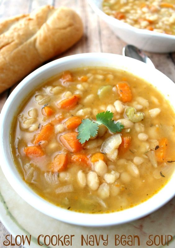 A slow cooker is a busy mom's best friend! My navy bean soup recipe make a delicious, filling meal that's easy to prepare using simple ingredients.