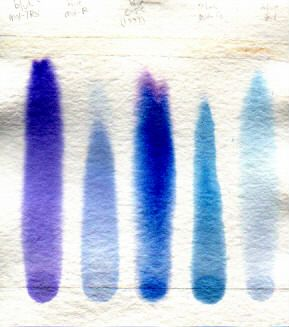 scanned paper chromatogram of other blue cold water dyes http://www.pburch.net/dyeing/notebook/notebook1.shtml