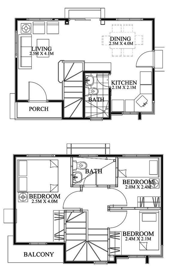 Planos casa peque a dos pisos pinteres for Casas pequenas de dos pisos