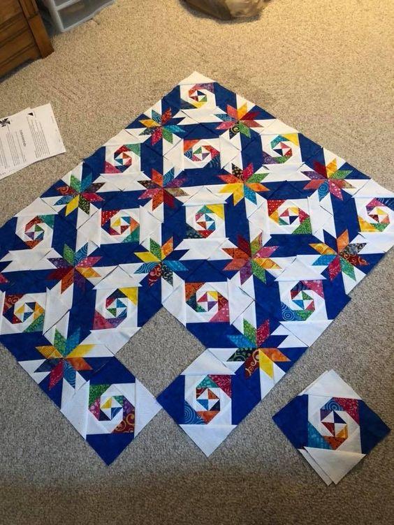 Lovely 2 block star quilt
