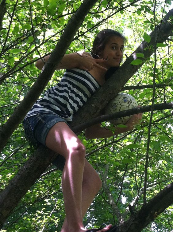 Way to get a soccer ball out of a tree? Throw another soccer ball at it!