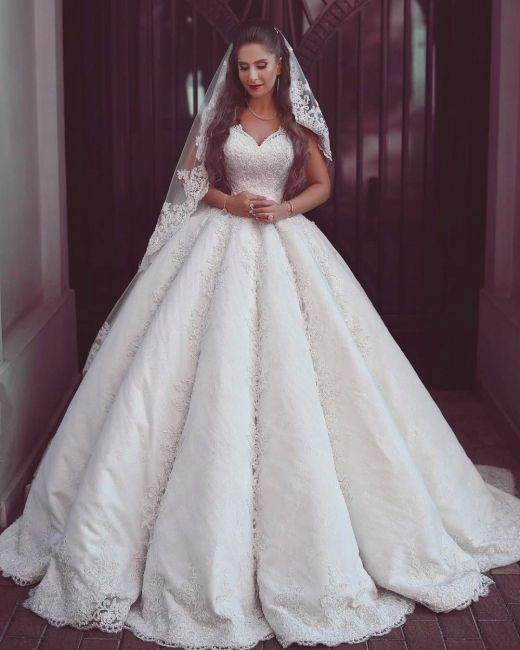 Elegant Lace Straps Wedding Dresses Puffy Sleeveless Bridal Ball Gowns Ball Gowns Wedding Bridal Ball Gown Wedding Dresses