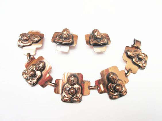 Buddha Copper link Bracelet and Earring Set by serendipitytreasure
