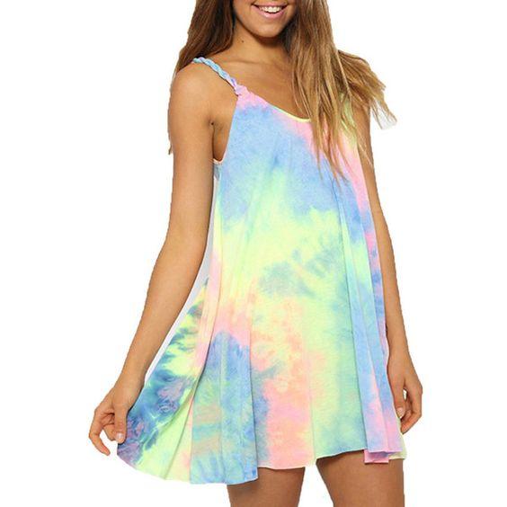 Womens Tie Dye Loose Casual Mini Slip Dress - Mini Dress - I Sell Goods - 1