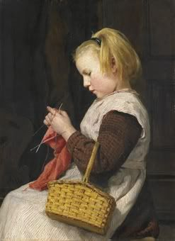 Strickendes Mädchen mit Korb, um 1897  Albert Anker (1831-1910)