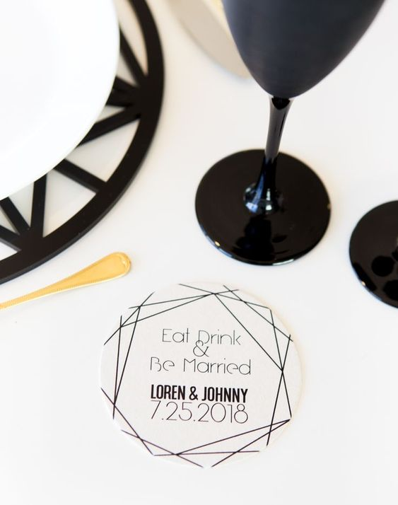 'Eat, Drink & Be Married' coaster! Cute!