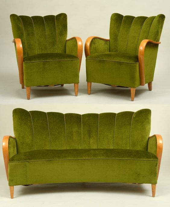 Art Deco Parlor Set this is my favorite color green! I've always wanted an antique chair this color!