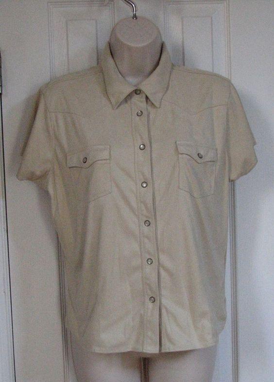 Wrangler Women Short Sleeve L Western Rodeo Shirt Polyester Suede Feel Beige #Wrangler #ButtonDownShirt