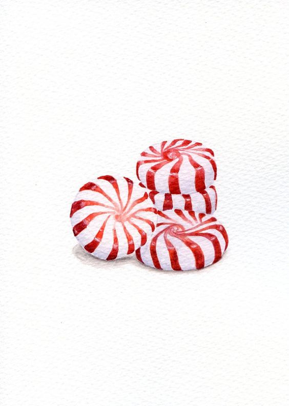 Peppermint Candy - ORIGINAL Painting (Still Life, Kitchen Wall Art, Watercolour Food Illustration) 5x7
