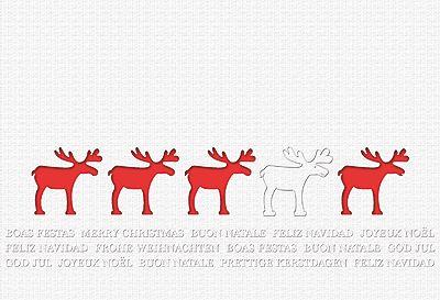 #Weihnachtskarte weiß/rot mit #Elchen, inkl. Kuvert.