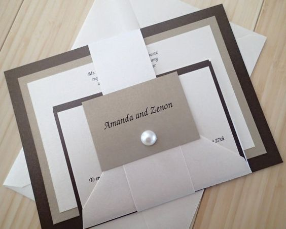 Gold, Bronze, Ivory wedding invitation, Banded Wedding invitation, Pearl…